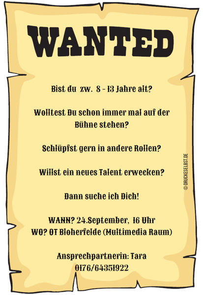 Theatergruppe - Wanted